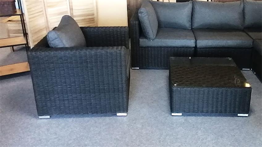 Sessel Flexi Einzelsessel Lounge Polyrattan Polster grau