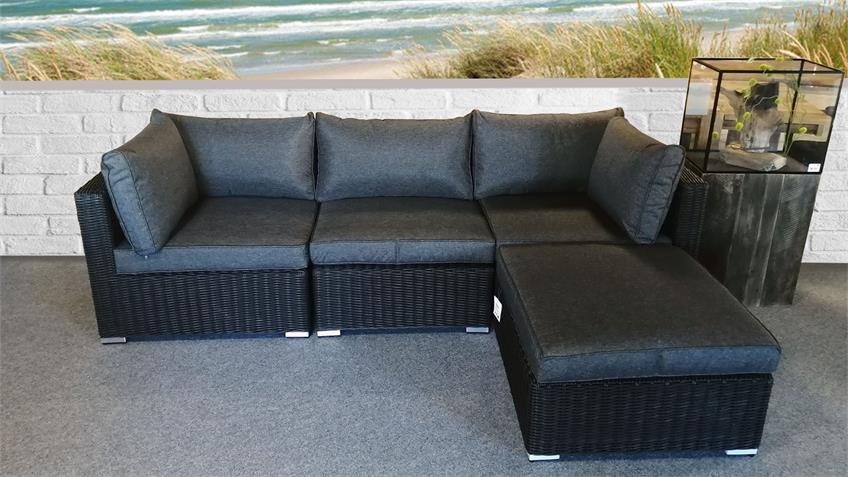 Lounge-Set FLEXI Sitzgruppe Sofa Polster grau Polyrattan