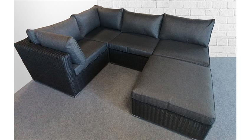 Rundecke Lounge Garnitur FLEXI Polster grau Polyrattan