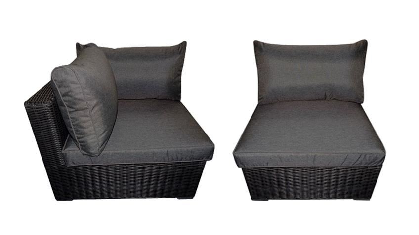 Lounge-Set FLEXI Polyrattan Rundecke Sessel Polster grau