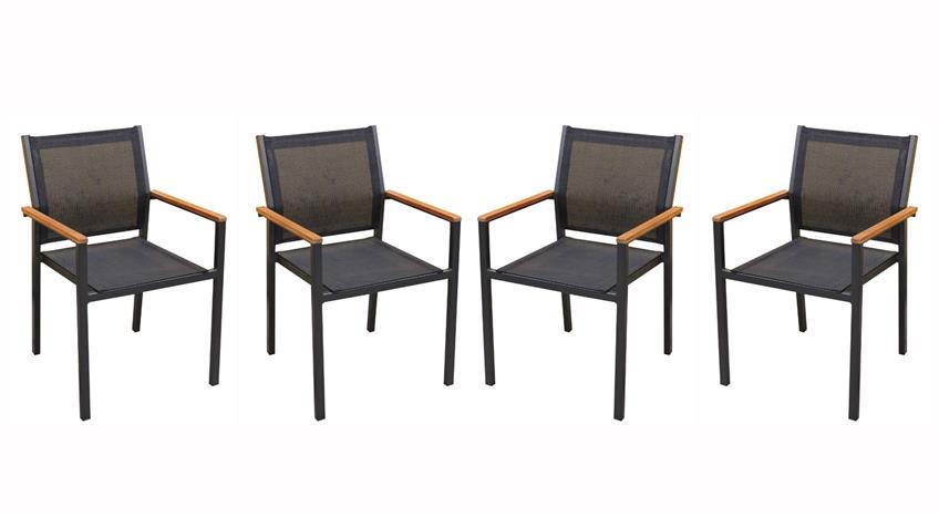 Stapelstuhl MILENA Stuhl Textilene Gestell Aluminium 4er Set