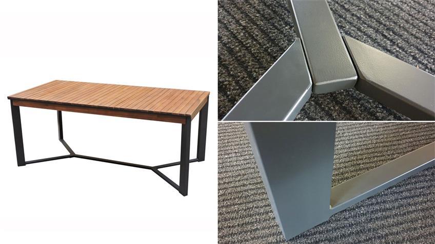 Esstisch Milena Tisch Holz Akazie Mangium Metall 180x90 cm