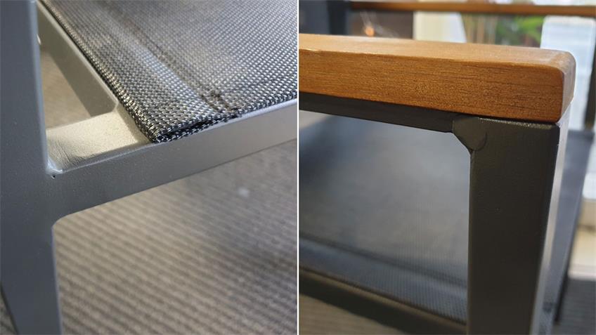 Tischgruppe MILENA Tisch Akazie Stapelstühle Textilene In- Outdoor