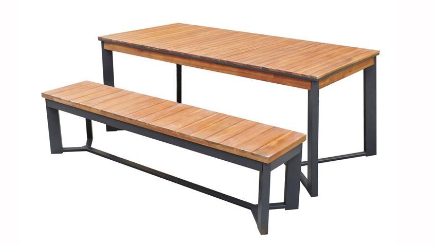 Essgruppe Milena Tisch 180x90 Bank Set 3-teilig Akazie Metall
