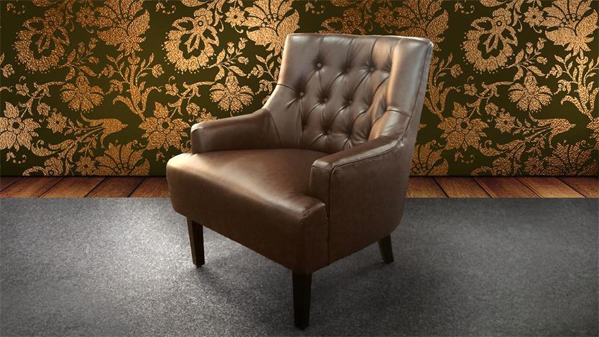 Loungesessel CHESTERFIELD dark coffee glossy Lederlook