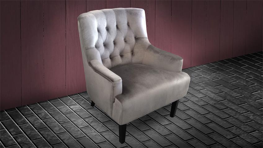 Loungesessel VELVET Samtstoff grau Sessel Holz schwarz