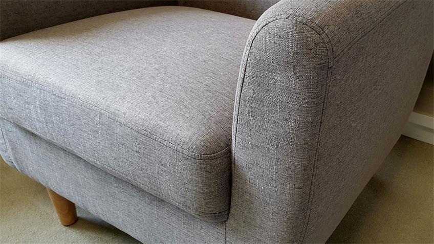 Sessel Linon Einzelsessel in grauem Leinenstoff und Buche