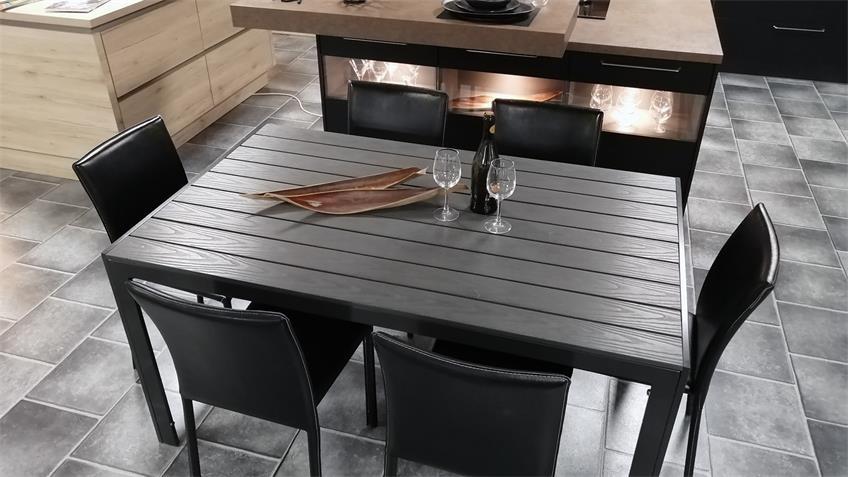 Esstisch Polywood Aluminium Küchentisch anthrazit 150x90 cm