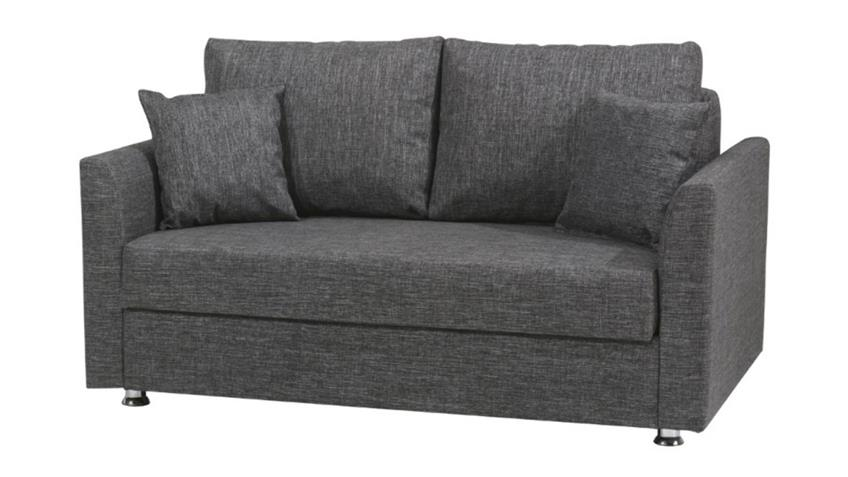 2-Sitzer Sofa BERGAMA Couch mit Bettfunktion in grau 155x95