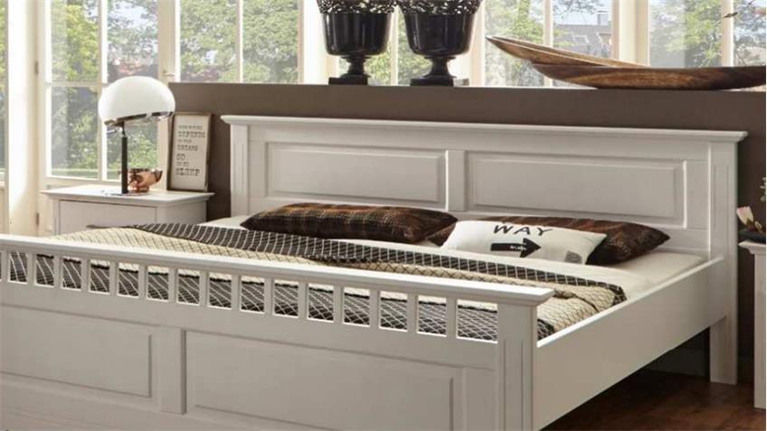 Bett KALAS Bettgestell Schlafzimmerbett Kiefer massiv weiß 180x200 cm