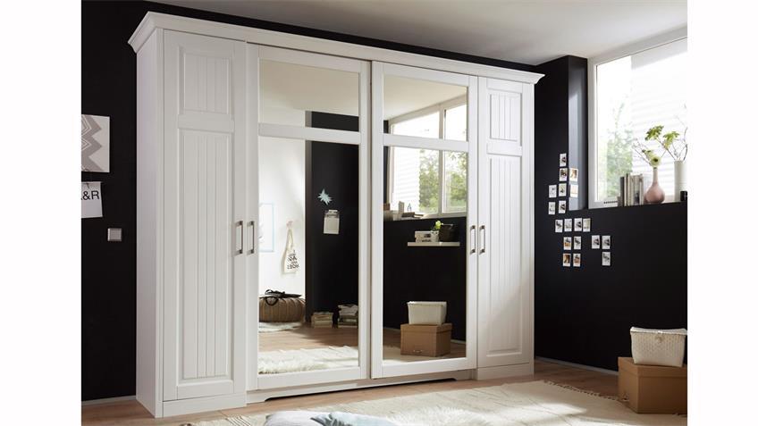 Landhaus Kleiderschrank Kalas Kiefer massiv weiß mit Spiegel