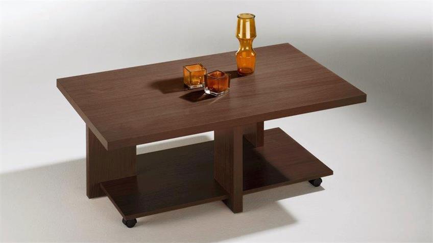 Couchtisch MAREIKE Rolltisch Wenge Dekor Rollen 110x70 cm