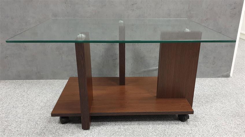 Couchtisch MAREIKE 90x70 cm Rollen Wenge Dekor Glas