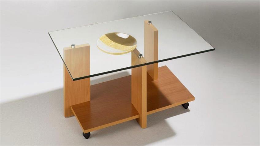 Couchtisch MAREIKE Glas Buche Dekor Rollen 90x70 cm