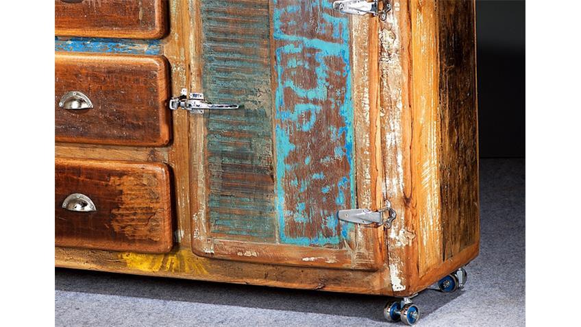 Kommode FRIDGE Echt Altholz bunt lackiert 3 Schubkästen