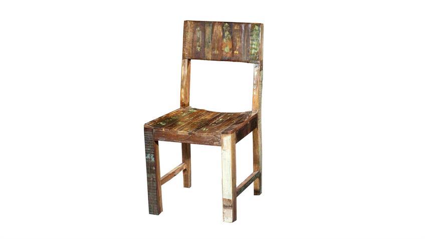Stuhl FRIDGE Esszimmerstuhl in echt Altholz bunt lackiert