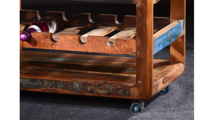 Küchenwagen FRIDGE Echt Altholz bunt lackiert