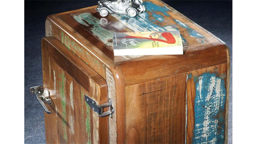 Nachttisch FRIDGE Echt Altholz bunt lackiert
