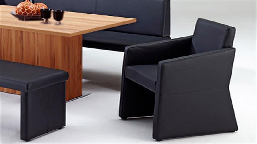 Polstersessel QUADRO komplett bezogen Sessel in schwarz