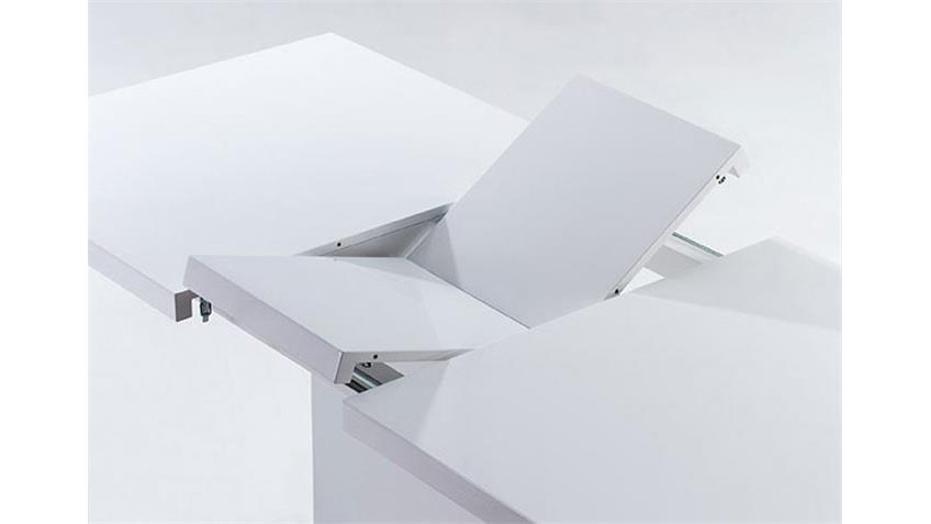 VIENNA Esstisch, Weiß Hochglanz - 160(200) x 90