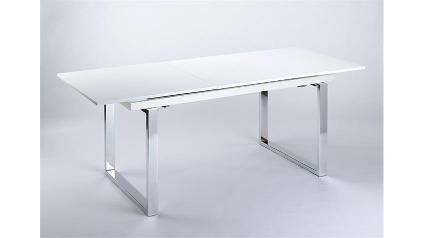 Esstisch VIENNA Weiß Hochglanz lackiert ausziehbar 160-205