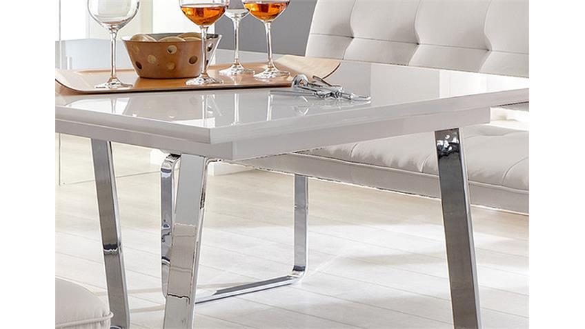 esstisch felix moderner esstisch in der farbe weiß hochglanz lackiert ...