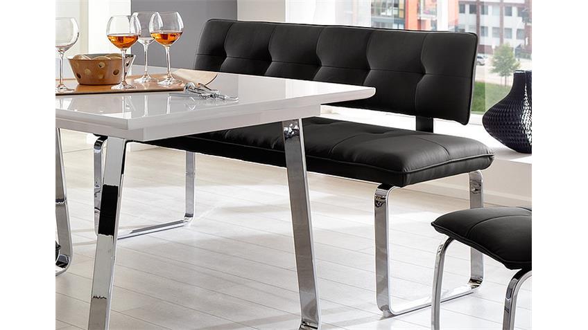 Sitzbank SPRING Schwarz und Chrom 140 cm