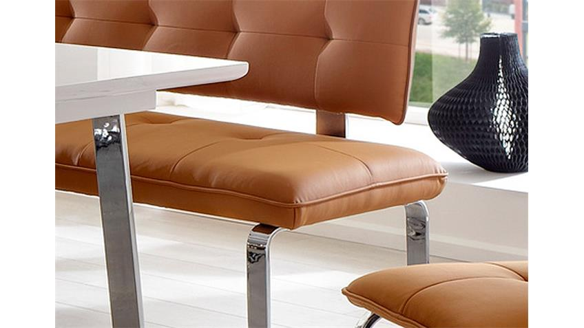 Sitzbank SPRING Caramell und Chrom 140 cm