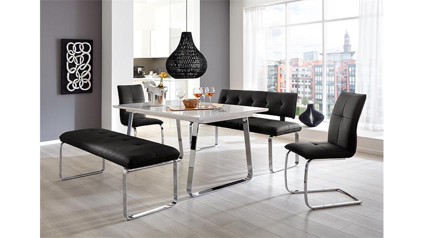 Tischgruppe SPRING FELIX Weiß Hochglanz und Schwarz 3 TLG