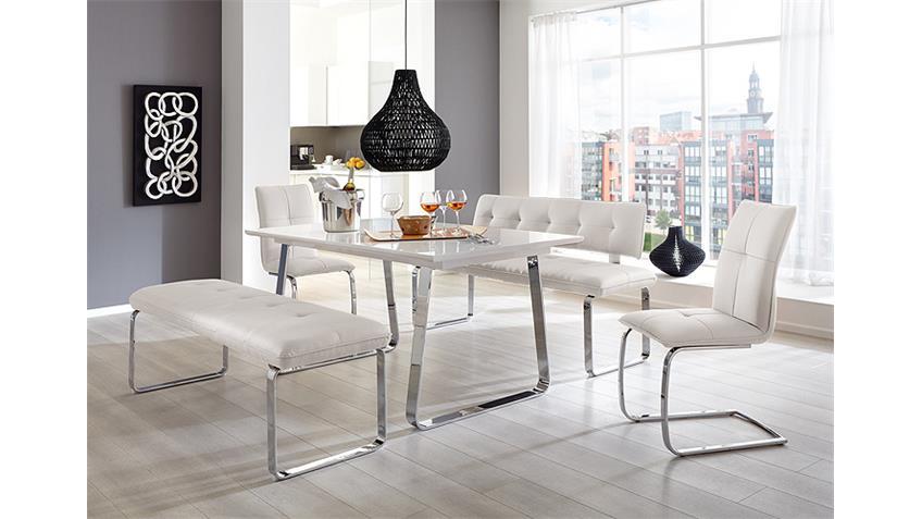 Tischgruppe SPRING FELIX Weiß Hochglanz und Weiß 3 TLG