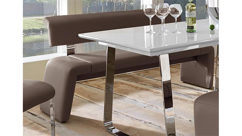 Tischgruppe SATELLITE FELIX Weiß Hochglanz und Schlamm
