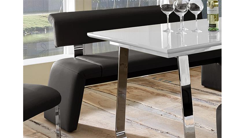 Tischgruppe SATELLITE FELIX Weiß Hochglanz und Schwarz