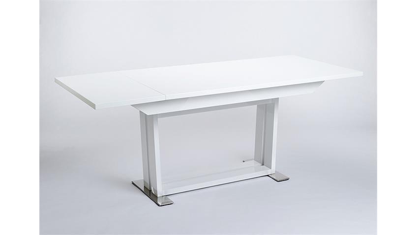 Esstisch OSLO Weiß Hochglanz lackiert 160-205 ausziehbar