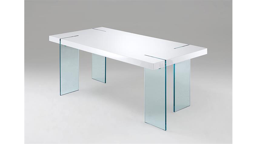 Esstisch NOVA weiß Hochglanz Klarglas 190x95 cm