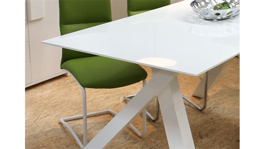 Esstisch SUZAN MDF weiß Hochglanz 160x90 cm