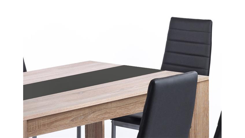 Tischgruppe PEGASUS Tisch Sonoma Eiche 6 Stühle schwarz