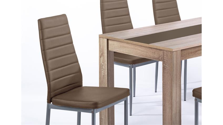 Tischgruppe PEGASUS Tisch Sonoma Eiche 6 Stühle cappuccino