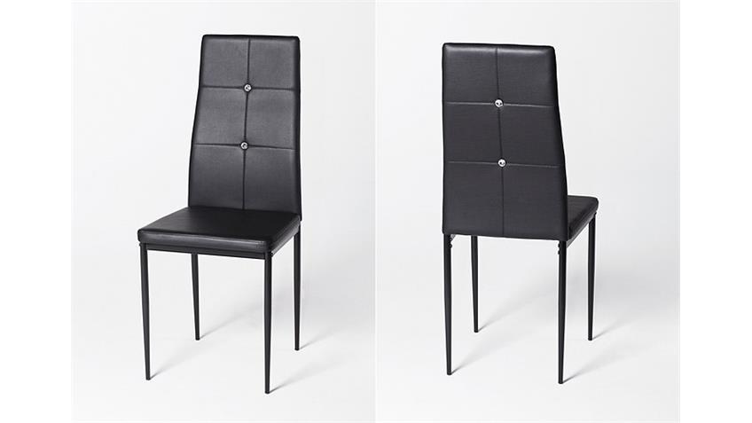Stuhl HARRY 6er Set Lederlook schwarz mit Strasssteinen