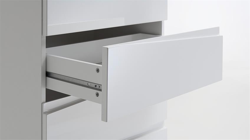 Sideboard 1 SHARPCUT weiß Hochglanz Glas grau lackiert