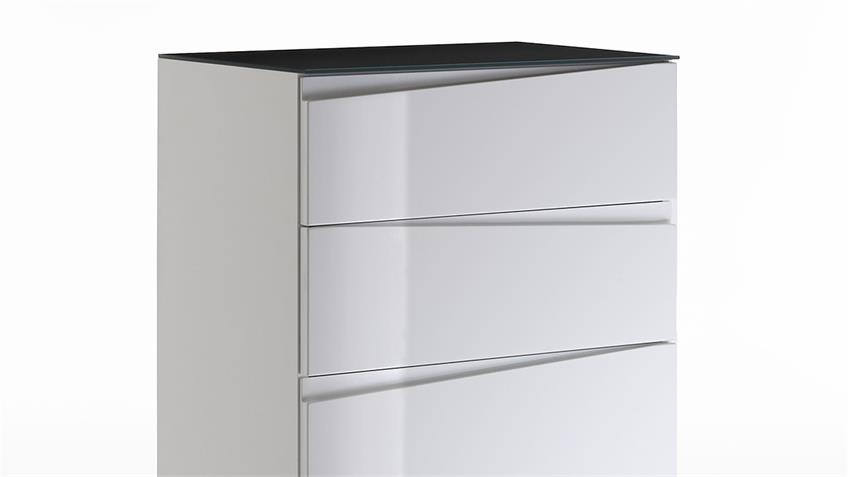 Kommode 3 SHARPCUT weiß Hochglanz Glas grau lackiert