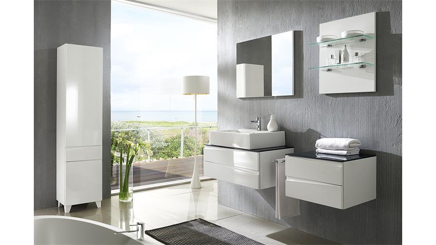 Badezimmer-Set SHARPCUT weiß Hochglanz Tiefzieh Glas grau