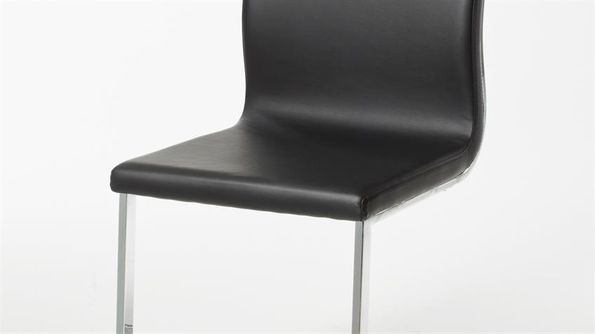 Stuhl FLORIDA 2er Set Freischwinger schwarz Gestell verchromt