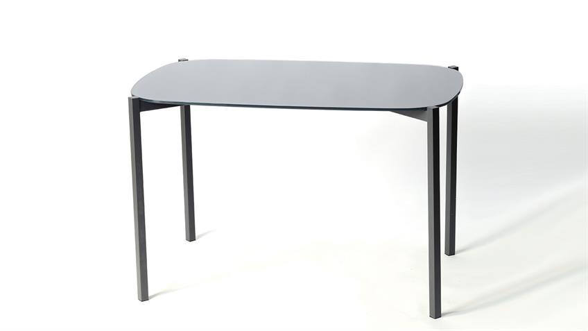 Tisch VERONIQUE Glasplatte Stahlgestell dunkelgrau 120x90 cm