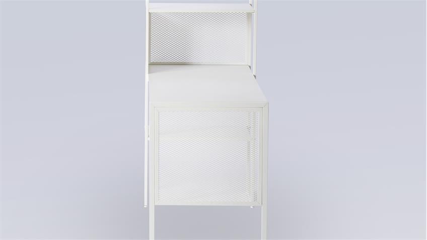 Schreibtisch mit Regal MORENO 03 Stahl weiß Computertisch