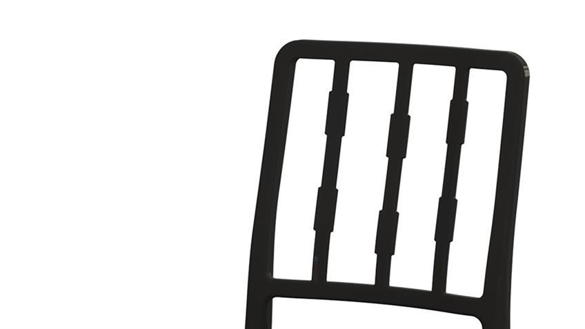 Stuhl ALBERTO 2-er Set Kunststoff schwarz