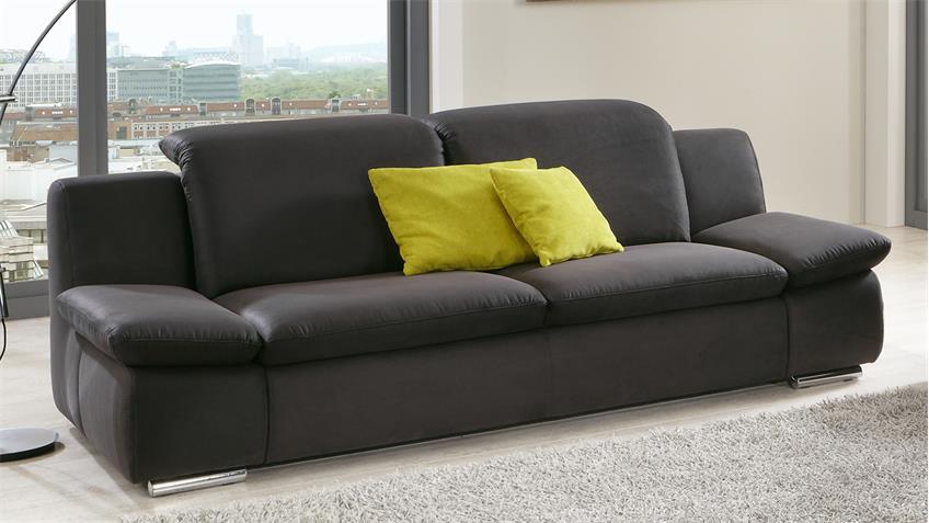 Sofa ISONA 3-Sitzer anthrazit mit Kopfteilverstellung Armteilfunktion