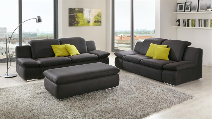 sofa isona 3 sitzer anthrazit mit kopfteilverstellung. Black Bedroom Furniture Sets. Home Design Ideas