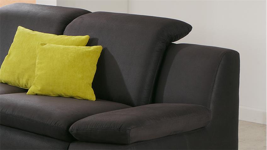 Sofa ISONA 2-Sitzer anthrazit mit Kopfteilverstellung Armteilfunktion