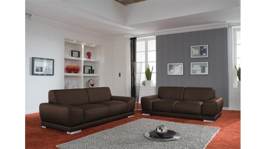 Sofa MANILA Wohnzimmersofa Echtleder in braun 3 Sitzer 218