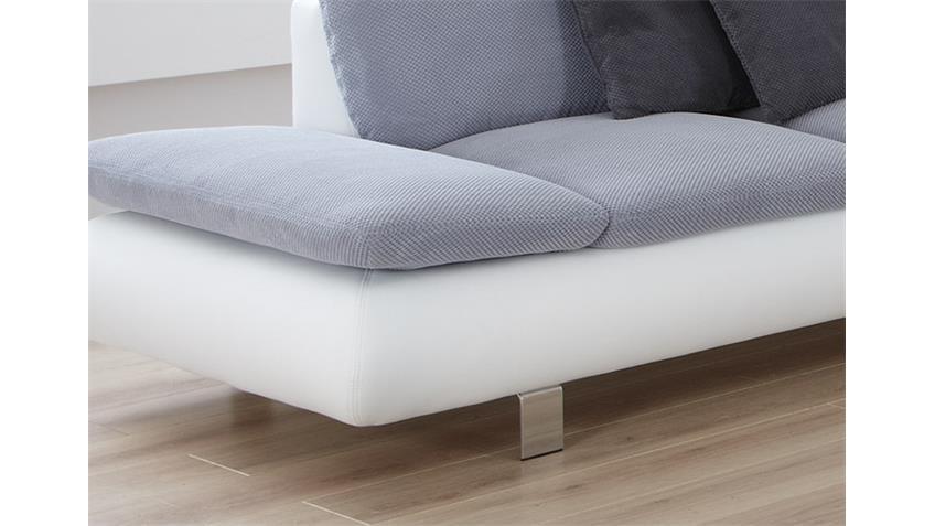 Sofa MORADO Polstermöbel in weiß grau und Chrom 2 Sitzer
